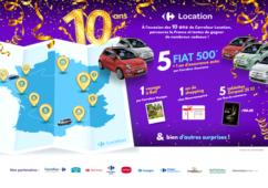 10 ans Carrefour location, jeu concours, Fiat 500, cartes cadeaux, tablettes